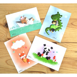 Lot de 4 cartes zanimo