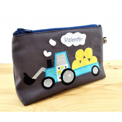 trousse tracteur turquoise fond gris anthracite