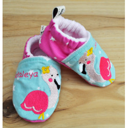 chaussons flamant rose personnalisables